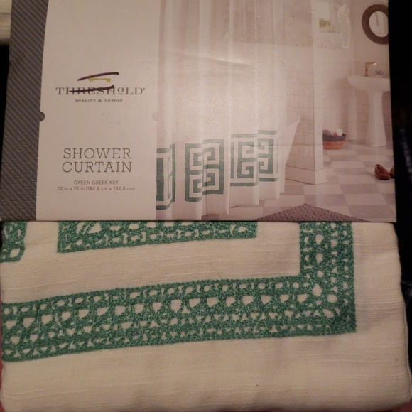 Threshold Green Greek Key Shower Curtain